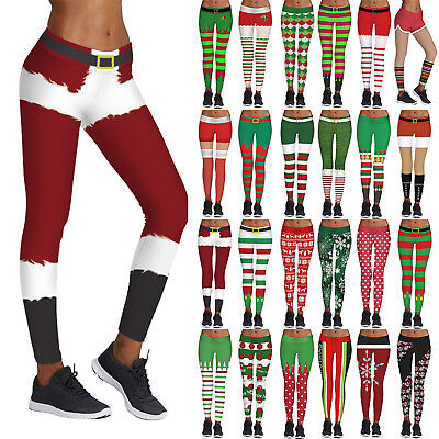 XMAS Leggings Womens Christmas Ugly 3D Print Yoga High Waist Pants Trousers AU