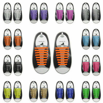 Easy No Tie Rubber Shoe Laces Colored Shoelaces Trainers Snickers Kids Adults UK