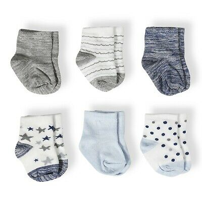 Aden + Anais 0-6 Months Funny Stars Boys Combed Cotton Baby Socks- 6 pack
