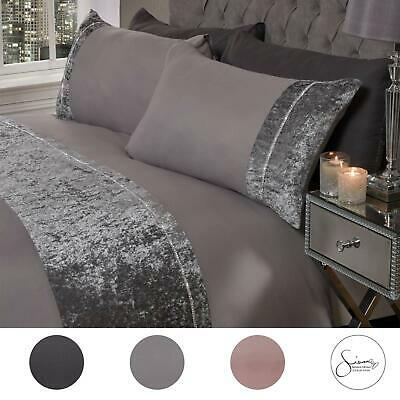 Sienna Crushed Velvet Diamante Band Duvet Cover with Pillowcase Grey Bedding Set