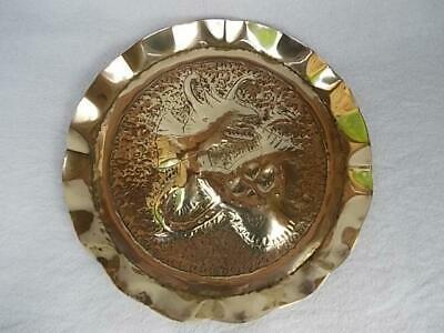 46 / LOVELY ANTIQUE 1900s CELTIC ARTS AND CRAFTS BRASS TRAY WITH DRAGON DESIGN