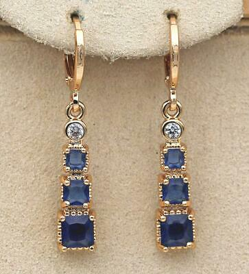 18K Gold Filled Earrings Square Sapphire Topaz Zircon Rectangle Dangle Bar DS