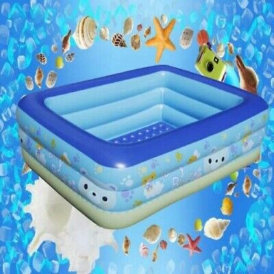 SWIMMING POOL INFLATABLE FAMILY PATIO GARDEN RECTANGULAR PADDLING  2-3 Ring pool
