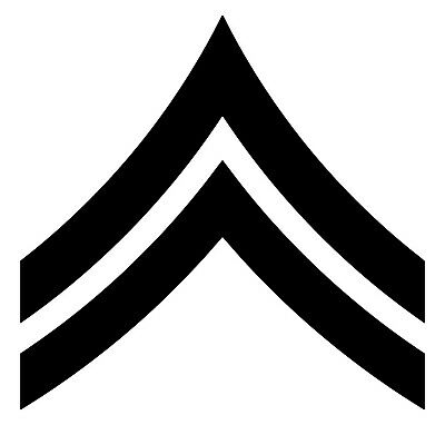 US Army E4 Vinyl Sticker - Corporal Insignia CPL Enlisted Rank - Die Cut Decal