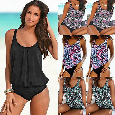 Women Push Up Padded Tankini Bikini Set Floral Swimsuit Bathing Suit Swimwear US