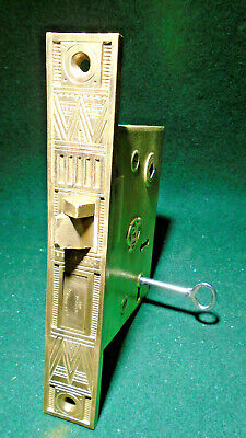 CORBIN #1700 BRASS EASTLAKE ENTRY MORTISE LOCK w/KEY - ALL BRASS LOCK!  (12290)