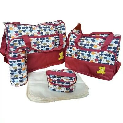 Baby Nappy Changing Bag Set 5pcs Mummy Maternity Hospital Diaper Bag Handbag UK