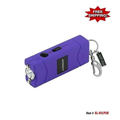 9.8 Million Volt Stun Gun Rechargeable with Key Chain and LED Light - Purple
