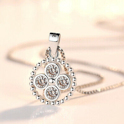 Muye 925 Sterling Silver Crystal Round Pendant Necklace For women Girl Jewelry