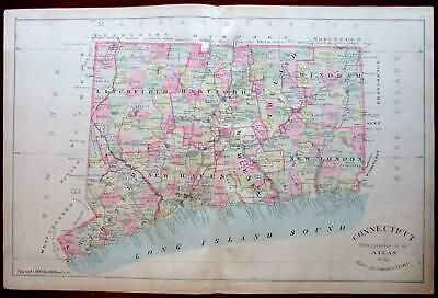 Connecticut State by itself 1893 excellent attractive large Hurd map