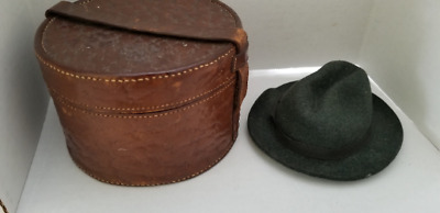 Victorian Antique French Fashion Doll Leather Hat Box Minature & fedora 5""