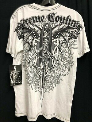 NWT Xtreme couture By Affliction T-shirt SKULL Tattoo Printed White *M