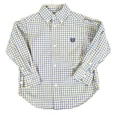 Chaps Boys 2T Button Down Long Sleeve Shirt Yellow Blue Plaid Toddler