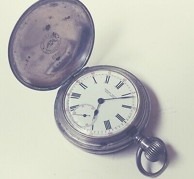 Antique 0.900 Silver Longines Hunter Case Swiss Pocket Watch From Circa 1910