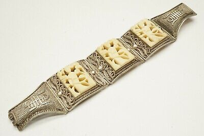 Antique Ornate Chinese Bracelet Hand Carved Bone Geisha Tile & Spun Silver 925