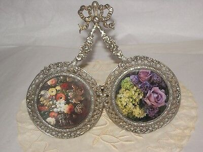 Antique French Silver double round miniature picture frame very pretty
