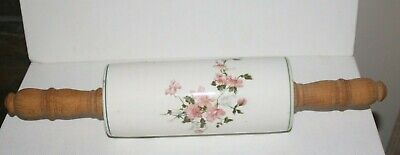 Old White Porcelain or Ceramic Floral Flower Rolling Pin Wood Handles Stamped 7