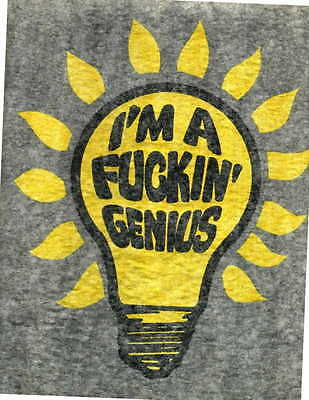 I'M A F...IN' GENIUS iron on t shirt transfer vintage 70s full size NOS