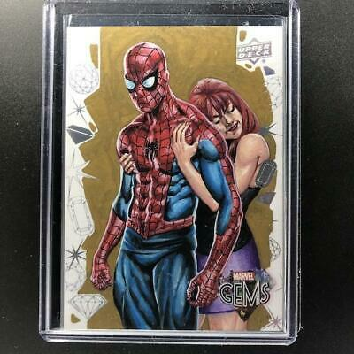 2016 Marvel Gems SPIDER-MAN & MARY JANE 'MJ' Sketch Faustino 1/1