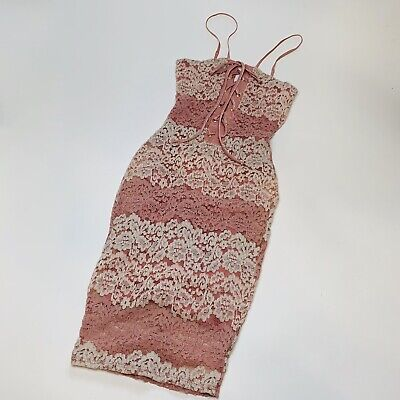 Blanc BodyCon Lace Dress Blush Pink Cream Lace Overlay Lace Up Womens NWOT