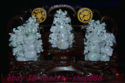 "27"" Chinese 100% Natural Emerald Jade Hand-Carved Gourd Flower Wealth Statue Set"