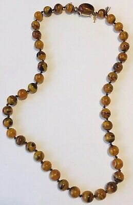 Vintage CROWN TRIFARI Honey Amber Swirl ART GLASS Hand Knotted Bead Necklace