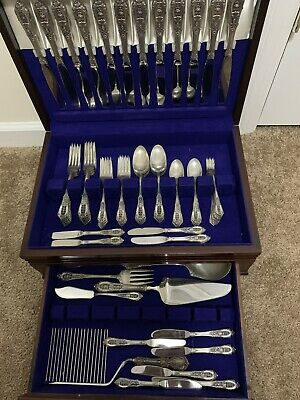 Vintage Rosepoint by Wallace Sterling Silver 90 Piece Silverware Set w/ Box.