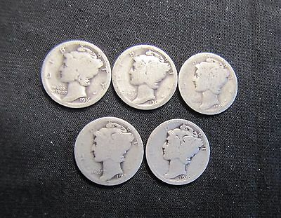 Lot of 1916-1920 Mercury Silver Dimes - 5 Coins: 1916, 1917, 1918, 1919, 1920