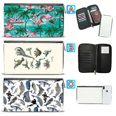 Flamingo Flower Whale Dinosaur Travel Wallet Passport Holder Organizer Leather
