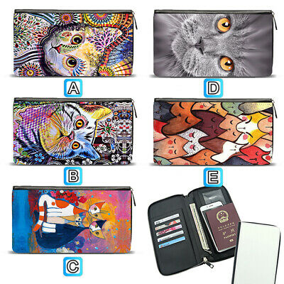 Cat Kitten Art Painting Travel Wallet Passport Holder Organizer Leather Case