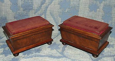 Antique PAIR Mahogany Sarcophagus Shaped Pin Cushions Jewellery / Trinket Boxes