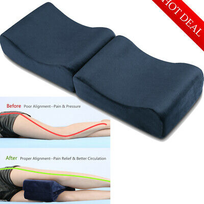Memory Foam Contour Leg Pillow Bed Orthopaedic Firm Back Hips Knee with Cover