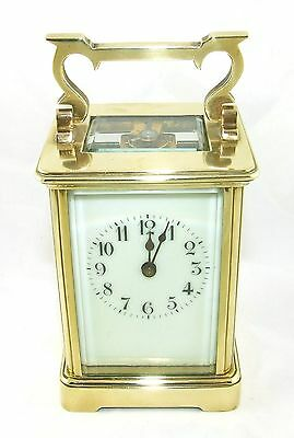 Antique Brass & Bevelled Glass Carriage Clock with Key : Working Order (47)