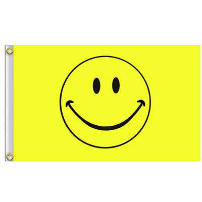 Festival Flags - 5x3FT- Smiley Face Yellow Flag AU