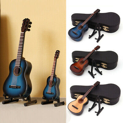 Miniature Wooden Classic Guitar Model Musical Instruments Dollhouse Gift Case