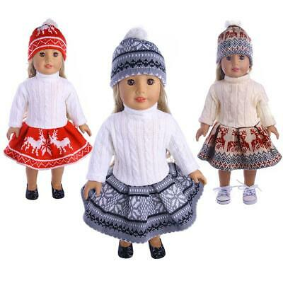 18inch Doll Clothes fits American Girl Today Dolls Sweater+ Skirt + Beanie Hat