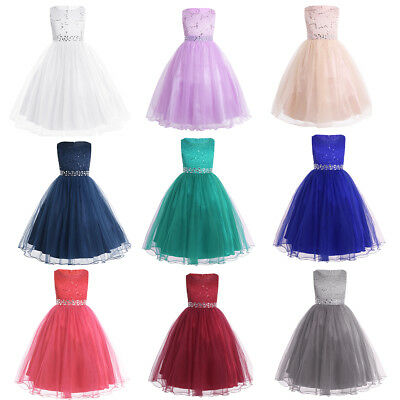 Flower Girl Dress Lace Glittery Party Wedding Pageant Bridesmaid Birthday Gown