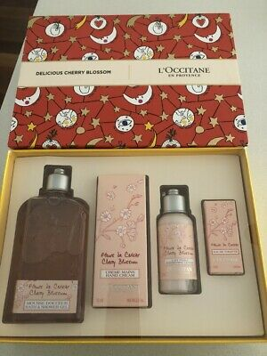 L'occitane Delicious Cherry Blossom Collection gift set NIB EDT, Shower Gel +