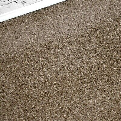 SOFT 12mm Thick Brown Beige Saxony Action Back 4m Wide Carpet Remnant/Roll End