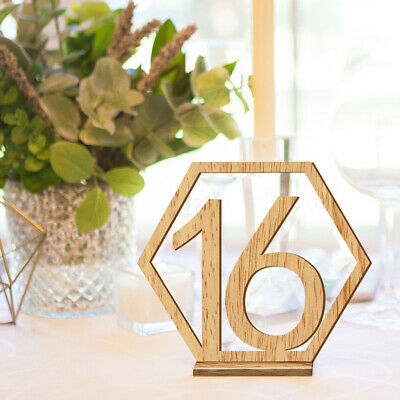 20pcs Hexagon 1-20 Wooden Table Numbers with Holder Base Wedding Table Decor KR