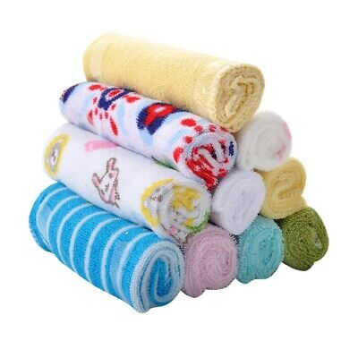 UK 8 Baby Kids Soft Wash Cloth Bath Feeding Towel Flannels Wipe Mixed Colour Hot