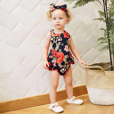 Baby Girls Infant Casual Romper Floral Print Backless Jumpsuit Headband Party