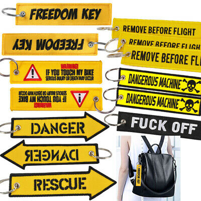 Freedom key Embroidery Remove Before Flight Key Chain Danger Key Tag