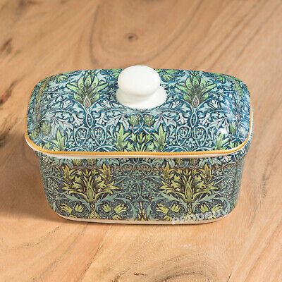 Butter Storage Dish with Lid Vintage Floral Snakeshead Serving Bowl Dining Table