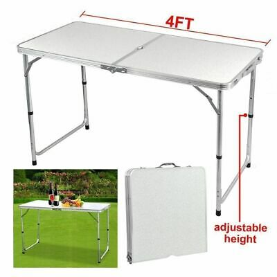4FT Folding Camping Picnic BBQ Table and 4 Chairs Festival Set Caravan Outdoor