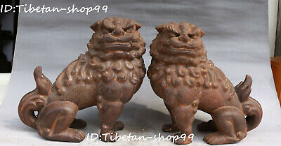 """8"""" China Ancient Old Wood Carving Foo Fu Dog Guardion Lion Leo Beast Statue Pair"""