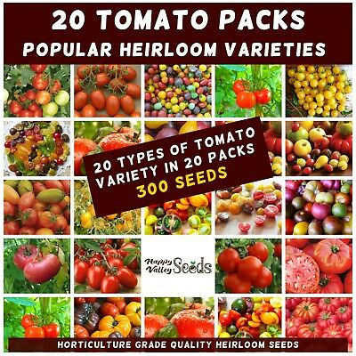TOMATO Heirloom Mix 300 Seeds 20 PACKS Mixed EASY VEGETABLE GARDEN SPRING SUMMER
