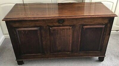 Early 1900's Stained Oak Coffer / Blanket Box With Lift Up Lid, 120cm Wide