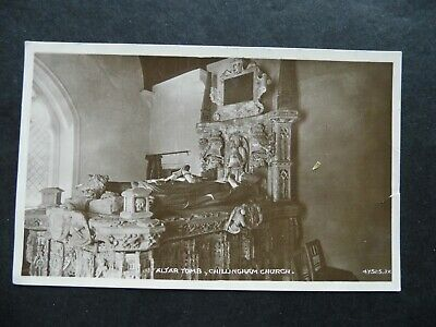 Vintage RP real photo postcard 1940s Chillingham Church Altar tomb Northumberlan