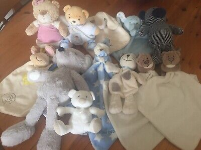Bundle Of 12 Baby Comforters And Soft Toys TU, Mothercare, F&F etc